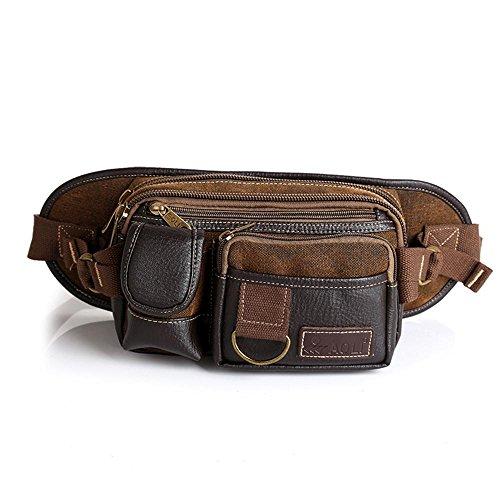 BUSL Wandern Hüfttaschen Männer Casual Outdoor-Leinwand mit hohen Kapazität multifunktionale Kuriertasche Business Geldgeldbeutel