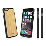 iPhone 6s Plus Case, BoxWave [True Bamboo Minimus Case] Hand Made, Real Wood Cover for iPhone 6 Plus / 6s Plus (Jet Black)