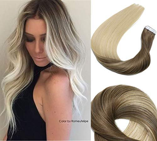 Tape In Hair Extensions Human Hair Balayage Ombre Hair 20pcs/50g Per Set Ash Brown Fading to Platinum Blonde Double Sided Tape Skin Weft Remy Silk Straight Hair Glue in Extensions Human Hair 18 Inch (Ombre Hair Dark Brown To Light Blonde)
