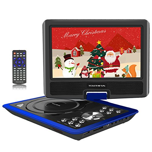 "Portable DVD Players,11"" Multimedia Video Player with 9.5"" Swivel Flip Screen, 5 Hours Rechargeable Battery, Support USB /SD Card/ Car Charger, Perfect for Kids and Car Travel-Blue"