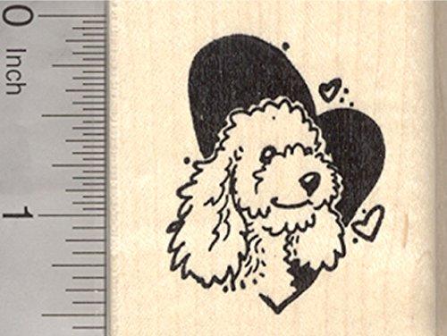 Poodle Valentine Rubber Stamp, Dog in Heart