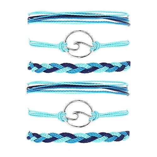 J Meng 2 Sets Wave Bracelet Adjustable Waterproof Ocean Wave Braided Rope String Bracelet for Woman (2 -