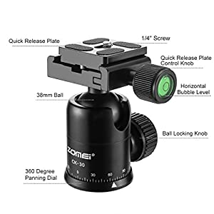 ZOMEI Lightweight Compact Aluminum Alloy Mini Desktop Tabletop Tripod With 360 Degree Panoramic Ball Head And Quick Release Plate For Canon Nikon DSLR Cameras, etc., Black