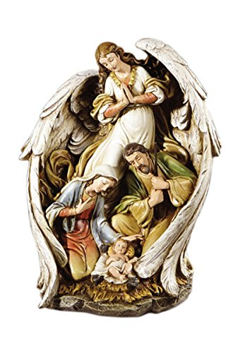 Guardian Angel Wings Stoneresin Nativity Statue Figurine (Holy Family Nativity) by Avalon Gallery