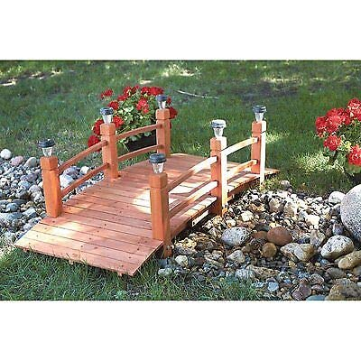 Beautifully Lighted Path Gangplank Span 5ft Fir Wooden 58.25x26.38x19.68 Home Garden Pond Yard Arch Bridge Walkway Decorative with 6 Solar Lights