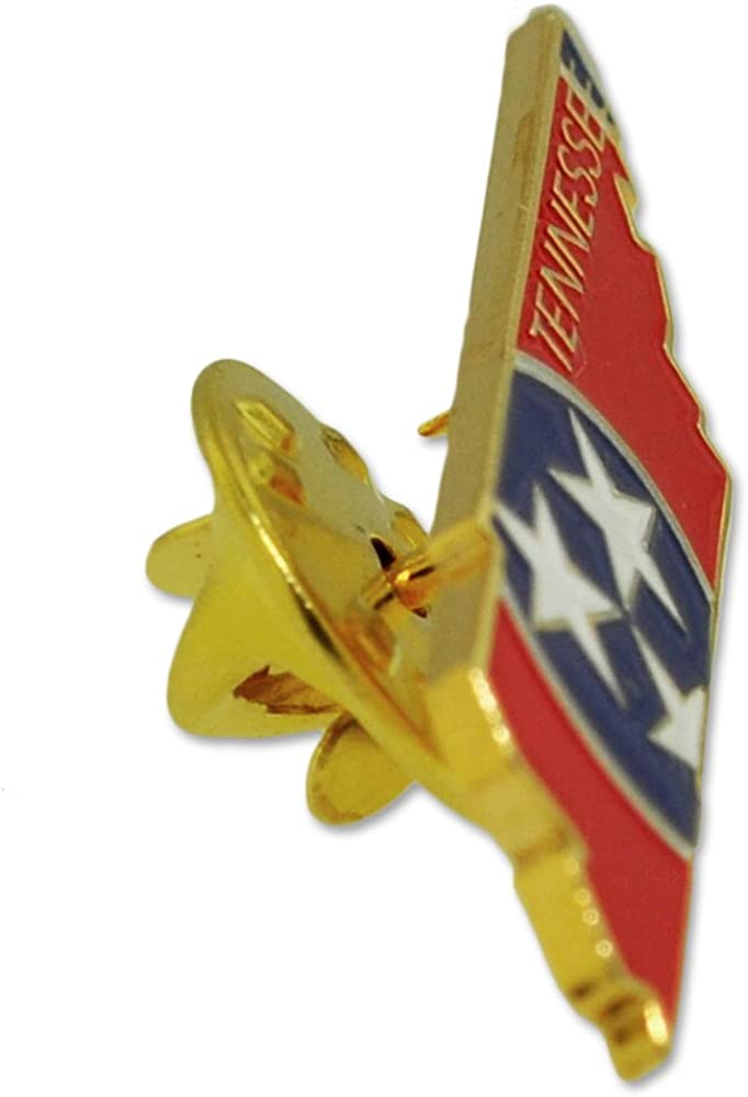 PinMart State Shape of Tennessee and Tennessee Flag Lapel Pin