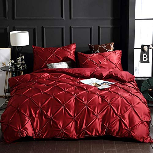 Papa&Mima Red Solid Fashion Silk Feeling Satin Microfiber Duvet Cover Set Pillowcases Bedding Set US Queen Size 90