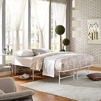 modway horizon full bed frame in white replaces box spring folding portable metal mattress