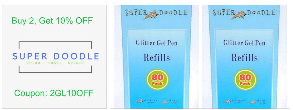 Super Doodle 80 Glitter Gel Pen Refills Box Set- Includes 80 Unique Color Glitter Ink Cartridge Refills, Number Coded for Best Replacement