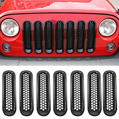 RT-TCZ Upgrade Version Clip-on Grille Front Mesh Grille Inserts for Jeep Wrangler 2007-2015 (Black): Automotive