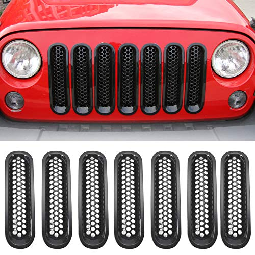 RT-TCZ Upgrade Version Clip-on Grille Front Mesh Grille Inserts for Jeep Wrangler 2007-2015 (Black) ()