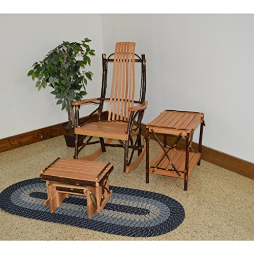 A & L Furniture Co. Amish Bentwood 7-Slat Hickory Rocking Chair with Gliding Ottoman and End Table Set - Ships Free in 5-7 Business Days