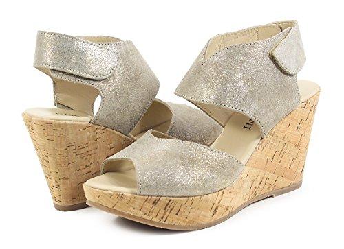 Cordani Rhonda Dusty Gold Banded Wedge Sandal