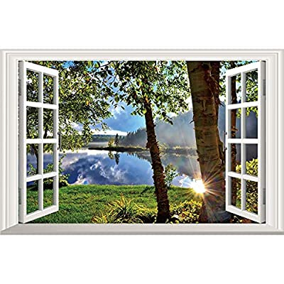 Home Find 3D Fake Windows Walls Stickers Peaceful Lake Sunshine Through The Woods Scenery Decor Frame Window Removable Vinyl Art Murals Bedroom Living Room Home Decals