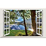 Home Find 3D Fake Windows Wall Stickers Peaceful Lake Sunshine Through the Woods Scenery Decor Frame Window Removable…