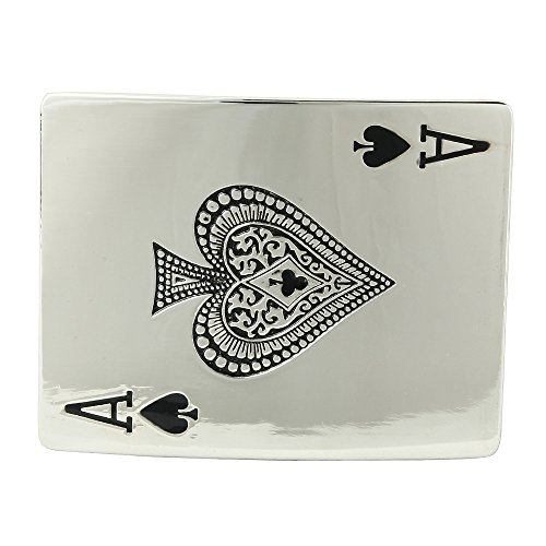 Spade Buckle (Senmi Casino Ace Spades Poker Card Pewter Belt Buckles- with Senmi Box Gift)