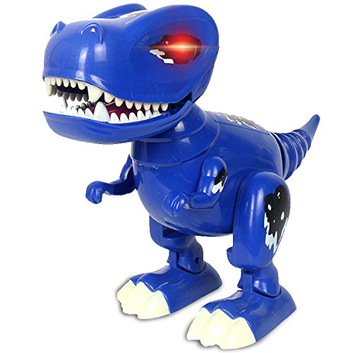 bot Dinosaur Toy, Walking Realistic Dinosaur with Sound, Built in Color- Changing LED Eyes, Roars, Wags Tails, Gift for Kids/Boys/Girls (Dinosaur Toy-Blue) ()