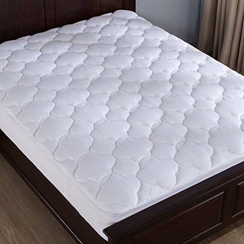 puredown Down Alternative Mattress Pad Topper Cloud Quilt Design Microplush Fabric Top White Twin