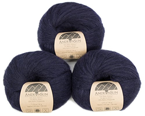 Extra Soft Baby Alpaca Merino Wool Yarn Weight Category #4 Worsted, Aran, Afghan, Medium -Set of 3 Skeins 150 Grams Total- Luxuriously and Caring Soft ()