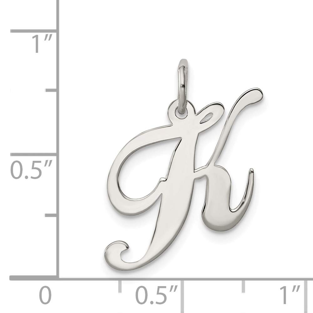 925 Sterling Silver Rhodium-plated Medium Fancy Script Letter Initial K Charm