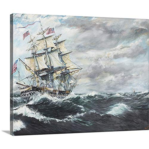 GREATBIGCANVAS Gallery-Wrapped Canvas Entitled USS Constitution Heads for HM Frigate Guerriere, 19/08/1812, 2003 by Vincent Alexander Booth 24