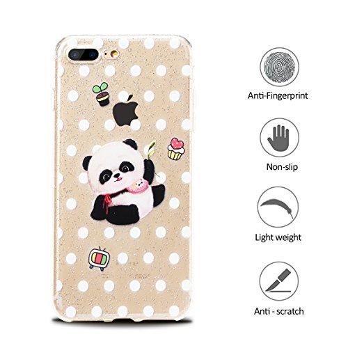Funda iPhone 7 Plus / 8 Plus Suave Transparente Delgado Gel Silicona TPU Case para Apple iPhone 8 Plus / 7 Plus 5.5 E-Lush Cristal Blanda Protectora Cover Caja [Flash point] Claro Flexible Absorción  Panda