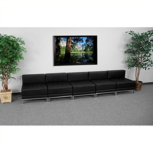 Flash Furniture HERCULES Imagination Series Black Leather Lounge Set, 5 Pieces