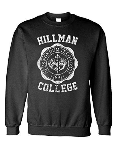 Hillman College - Retro 80s Sitcom tv - Fleece Sweatshirt, 3XL, Black ()