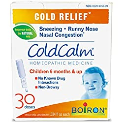 Boiron Coldcalm Baby, 30 Count. Baby Cold Relief Drops for Sneezing, Runny Nose and Nasal Congestion. Non-drowsy, Sterile Single-use Liquid Oral Doses with Natural Active Ingredient