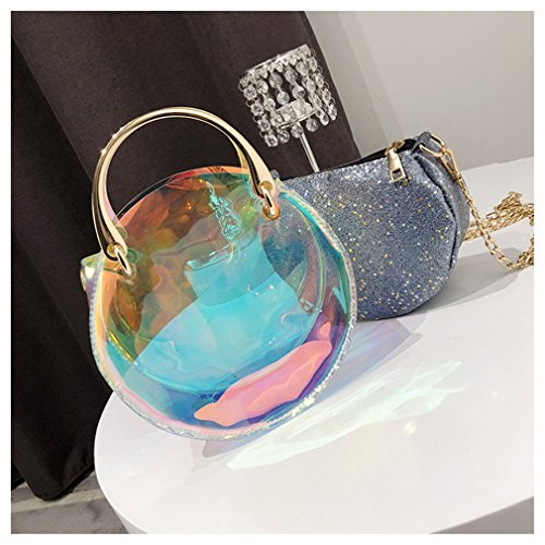 Purse Bag Round Marchome Shiny Holographic Shoulder Blue Crossbody Small Chain 4q46Iwn8W