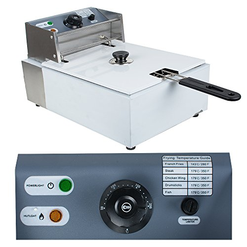 Enshey 2500W Electric 5.5L Deep Fryer Professional Tabletop Restaurant Kitchen Frying Machine Commercial Countertop Fryer Restaurant Frying with Basket and Lid, 2-4 Days USA Fast Shipping