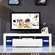SUNCOO TV Stand Media Console Cabinet LED Shelves with 2 Drawers for Living Room Storage High Gloss White for up to 63-inch TV Screens