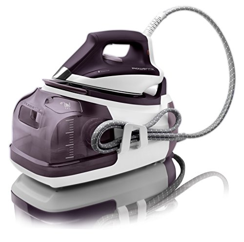Rowenta DG8520 Perfect Steam 1800-Watt Eco Energy Steam Iron Station Stainless Steel Soleplate, 400-Hole, Purple (Containers Output)