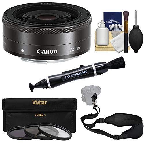 Canon EF-M 22mm f/2 STM Pancake Lens (Black) with 3 UV/CPL/ND8 Filters + Strap + Kit