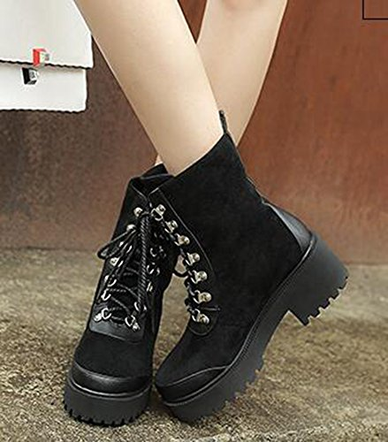 Vintage Black Boots Booties Ankle IDIFU Toe Womens Heels Mid Chunky Lace Up Round Bikers OSqU5w