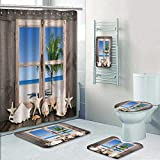 Philip-home 5 Piece Banded Shower Curtain Set Dreaming on The sea View of a Old Wood to The oceanwith one Palm Tree Pattern Printing Suit