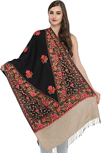 Exotic India Double-Colored Ari Stole from Amritsar wit - Color Black And - Wool Doeskin