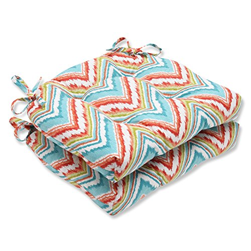 Pillow Perfect Chevron Charade Capri Reversible Chair Pad, Set of 2