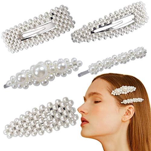 Pearl Hair Clips Silver Hair Barrette Hair Snap Pins for Women Lady,Wedding Bridal Artificial Pearl Hairpins Handmade Hair Accessories by - Pearl Tone Clip