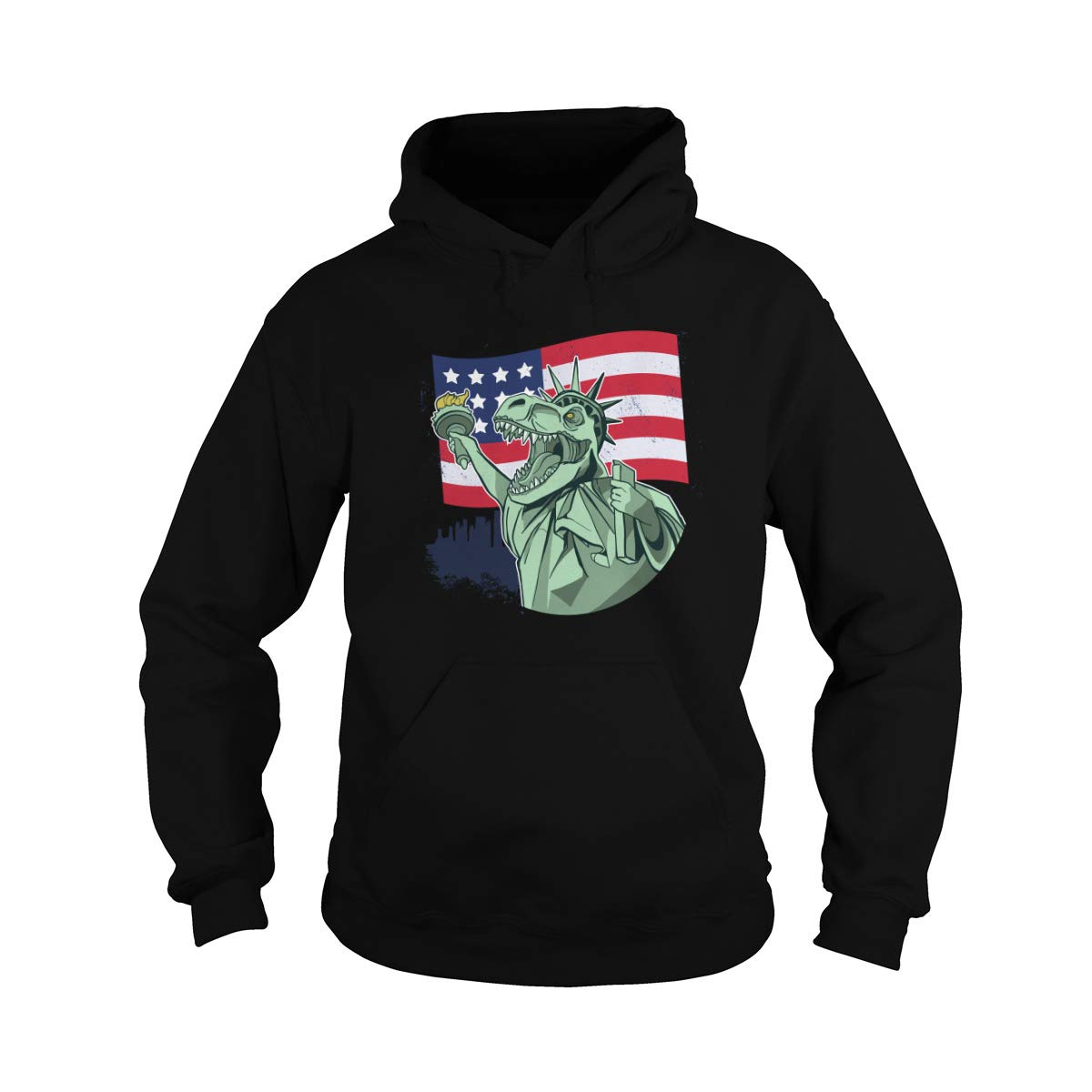 LibertyRex T-rex Lady Liberty Celebrating American Freedom Adult Hooded Sweatshirt