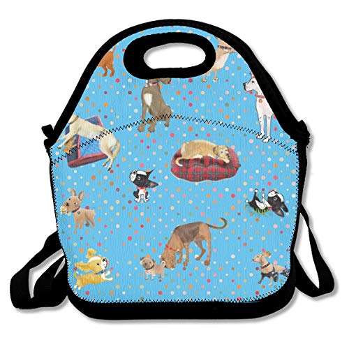 Lessons my dogs taught me Neoprene Lunch Tote Bag with Shoulder Straps for Adults,Women,Girls,School Children-Suitable for Travel,Picnic,Office