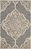 Safavieh Dip Dye Collection DDY510B Handmade Slate and Beige Wool Area Rug (3′ x 5′) For Sale