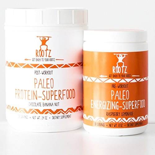 Rootz - Complete Stack - Paleo Superfood - Paleo Pre Workout and Paleo Protein Powder Combo Pack by Rootz