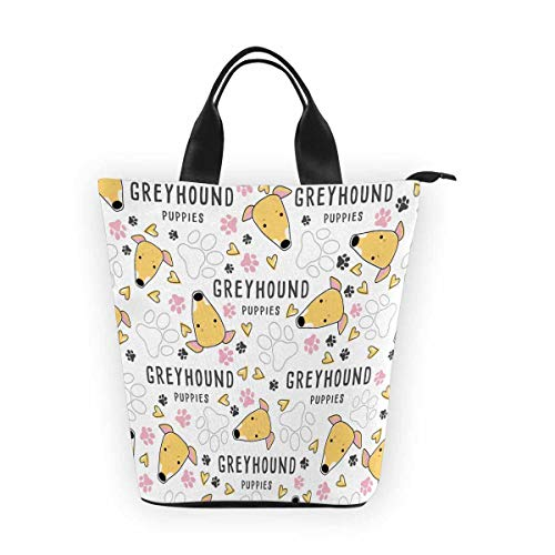 InterestPrint Nylon Cylinder Lunch Bag Greyhound Dog Breed Collection Tote Lunchbox Handbag