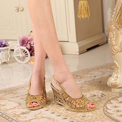 Peep Mid Wedge Toe Slingback Heel Hollowed out Sandals Patern Honeystore Gold Women's Cw5qn7BO