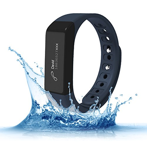 Fitness Trackers,Teslasz I5 plus IP65 Water-resistant Pedometer Bluetooth 4.0 Sleep Monitor Activity Tracker for Android and IOS Smart Phone,Dark Blue