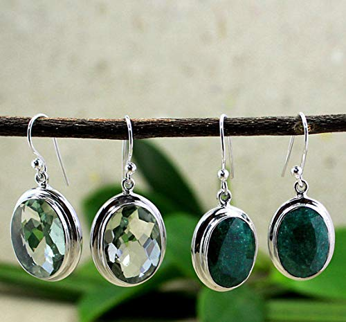Elegant Emerald Earring Green Amethyst Birthday Gift Christening Present Impressive Green Danglers 925 Sterling Silver Her Jewelry ()