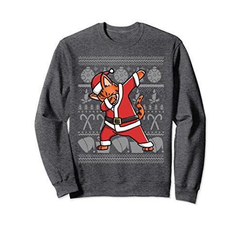 Unisex Bengal Cat Dabbing Ugly Christmas Sweatshirt Pet Gift Small Dark Heather