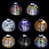 Pack of 8 Halloween Decorations Paper Lanterns with LED Light With diff Deal (Small Image)
