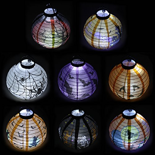 Pack of 8 Halloween Decorations Paper Lanterns with LED Light With different style for Halloween Party Supplies Halloween Party Favor by Spooktacular Creations